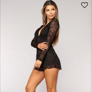 Fashion nova Black Lace Romper Open Back